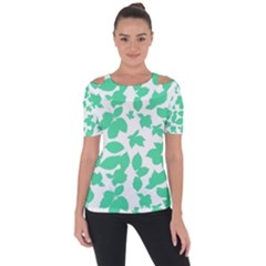 Botanical Motif Print Pattern Shoulder Cut Out Short Sleeve Top