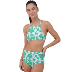 Botanical Motif Print Pattern High Waist Tankini Set
