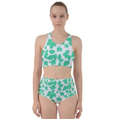 Botanical Motif Print Pattern Racer Back Bikini Set