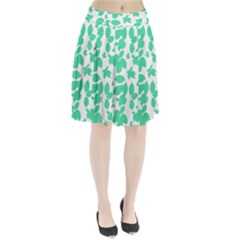 Botanical Motif Print Pattern Pleated Skirt