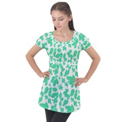 Botanical Motif Print Pattern Puff Sleeve Tunic Top