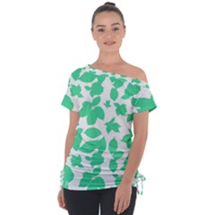 Botanical Motif Print Pattern Tie-Up Tee
