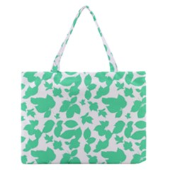 Botanical Motif Print Pattern Zipper Medium Tote Bag