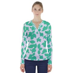 Botanical Motif Print Pattern V-Neck Long Sleeve Top