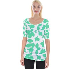 Botanical Motif Print Pattern Wide Neckline Tee by dflcprintsclothing