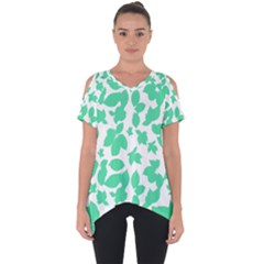 Botanical Motif Print Pattern Cut Out Side Drop Tee