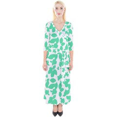 Botanical Motif Print Pattern Quarter Sleeve Wrap Maxi Dress