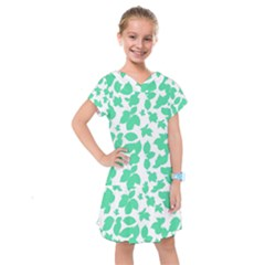 Botanical Motif Print Pattern Kids  Drop Waist Dress