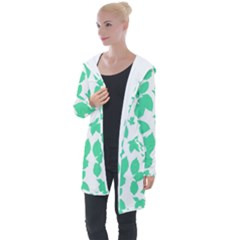 Botanical Motif Print Pattern Longline Hooded Cardigan