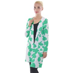Botanical Motif Print Pattern Hooded Pocket Cardigan