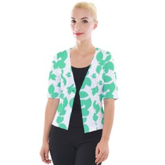 Botanical Motif Print Pattern Cropped Button Cardigan