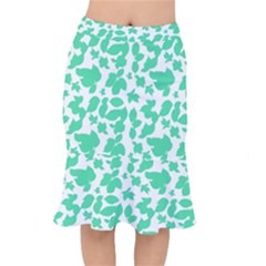 Botanical Motif Print Pattern Short Mermaid Skirt