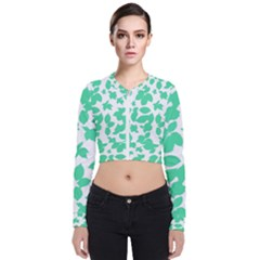 Botanical Motif Print Pattern Long Sleeve Zip Up Bomber Jacket