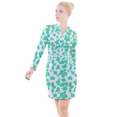 Botanical Motif Print Pattern Button Long Sleeve Dress