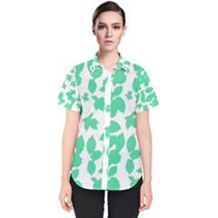 Botanical Motif Print Pattern Women s Short Sleeve Shirt