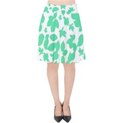 Botanical Motif Print Pattern Velvet High Waist Skirt