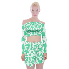 Botanical Motif Print Pattern Off Shoulder Top with Mini Skirt Set
