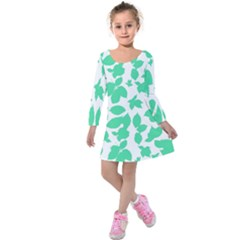 Botanical Motif Print Pattern Kids  Long Sleeve Velvet Dress