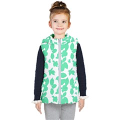 Botanical Motif Print Pattern Kids  Hooded Puffer Vest