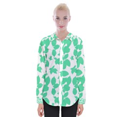 Botanical Motif Print Pattern Womens Long Sleeve Shirt