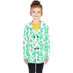 Botanical Motif Print Pattern Kids  Double Breasted Button Coat
