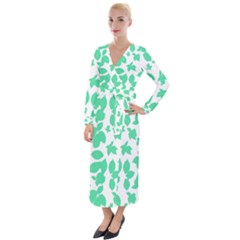 Botanical Motif Print Pattern Velvet Maxi Wrap Dress