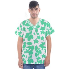 Botanical Motif Print Pattern Men s V-Neck Scrub Top