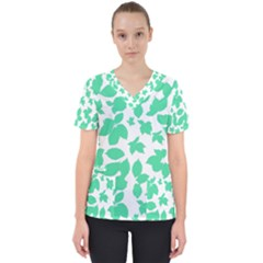 Botanical Motif Print Pattern Women s V-Neck Scrub Top