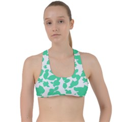 Botanical Motif Print Pattern Criss Cross Racerback Sports Bra