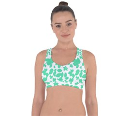 Botanical Motif Print Pattern Cross String Back Sports Bra