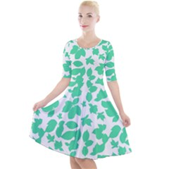 Botanical Motif Print Pattern Quarter Sleeve A-Line Dress