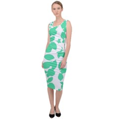 Botanical Motif Print Pattern Sleeveless Pencil Dress