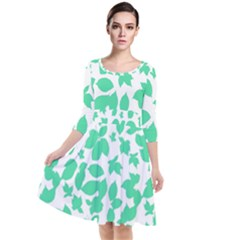 Botanical Motif Print Pattern Quarter Sleeve Waist Band Dress