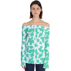 Botanical Motif Print Pattern Off Shoulder Long Sleeve Top