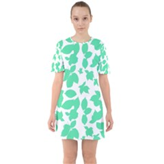 Botanical Motif Print Pattern Sixties Short Sleeve Mini Dress