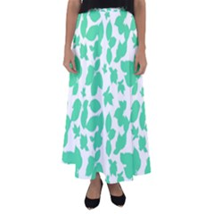 Botanical Motif Print Pattern Flared Maxi Skirt