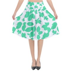 Botanical Motif Print Pattern Flared Midi Skirt