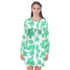 Botanical Motif Print Pattern Long Sleeve Chiffon Shift Dress