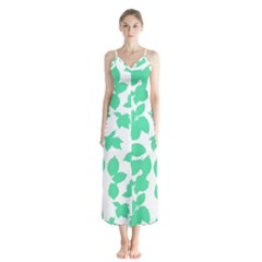 Botanical Motif Print Pattern Button Up Chiffon Maxi Dress