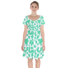 Botanical Motif Print Pattern Short Sleeve Bardot Dress
