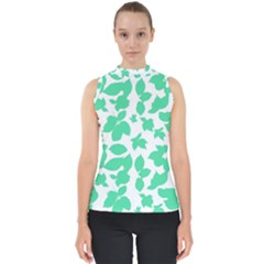 Botanical Motif Print Pattern Mock Neck Shell Top