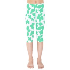 Botanical Motif Print Pattern Kids  Capri Leggings