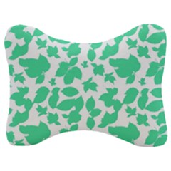 Botanical Motif Print Pattern Velour Seat Head Rest Cushion