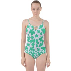 Botanical Motif Print Pattern Cut Out Top Tankini Set