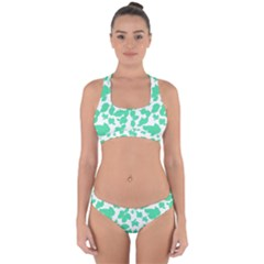 Botanical Motif Print Pattern Cross Back Hipster Bikini Set