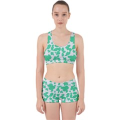 Botanical Motif Print Pattern Work It Out Gym Set