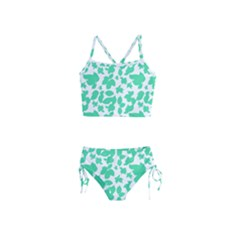 Botanical Motif Print Pattern Girls  Tankini Swimsuit