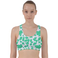Botanical Motif Print Pattern Back Weave Sports Bra