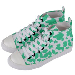 Botanical Motif Print Pattern Women s Mid-Top Canvas Sneakers
