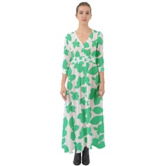 Botanical Motif Print Pattern Button Up Boho Maxi Dress